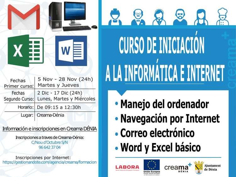Curs gratuït d'iniciació a la informàtica i Internet en Creama Dénia