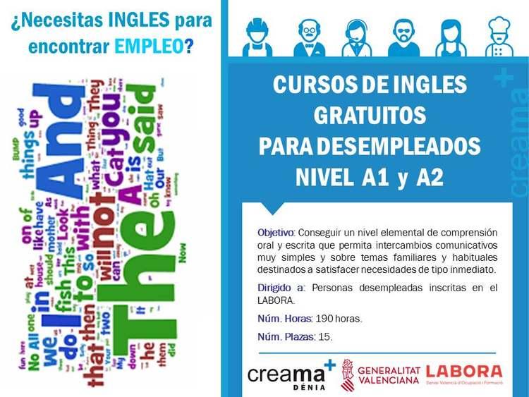 Creama Dénia imparte cursos de inglés para personas desempleadas inscritas en Labora