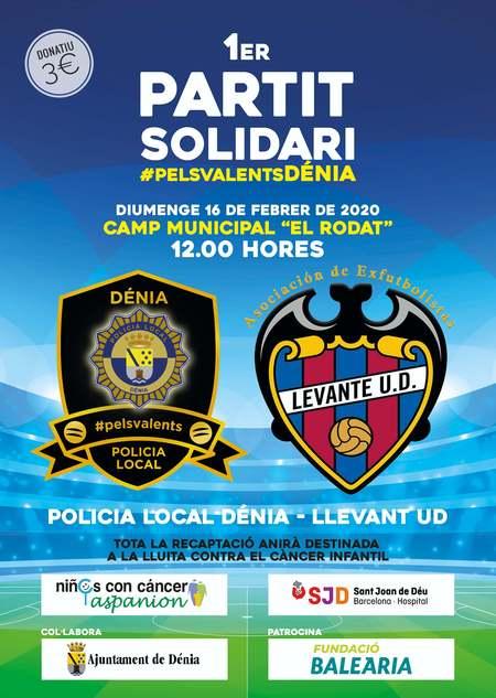 La Policía Local de Dénia se enfrentará a veteranos del Levante en un partido de fútbol para...