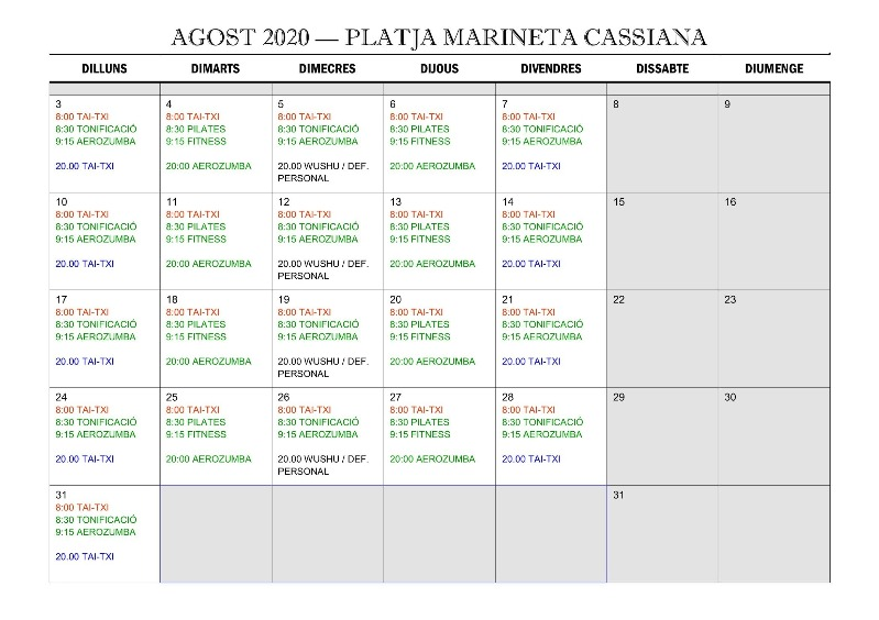 Calendario de actividades de 'Deporte en la playa' del mes de agosto
