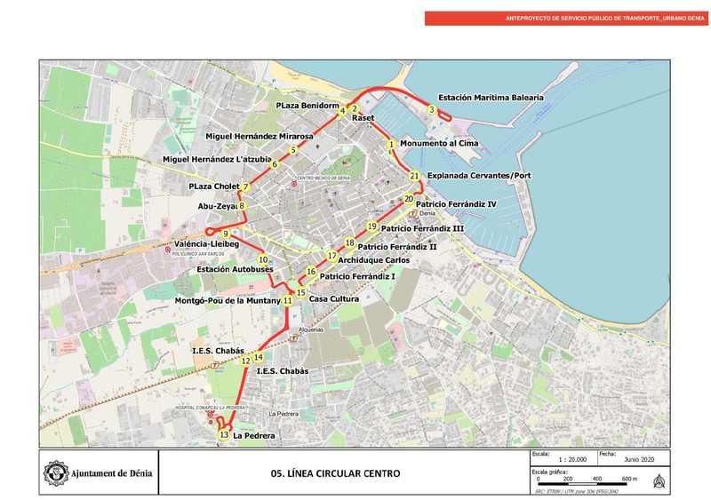 El anteproyecto del nuevo servicio de transporte público prevé una línea de autobús circular...