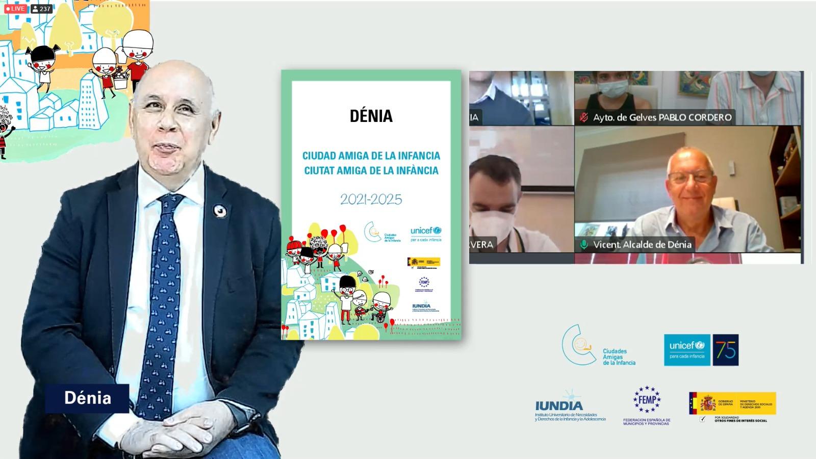 Acte virtual de lliurament a Dénia del reconeixement com a Ciutat Amiga de la Infància