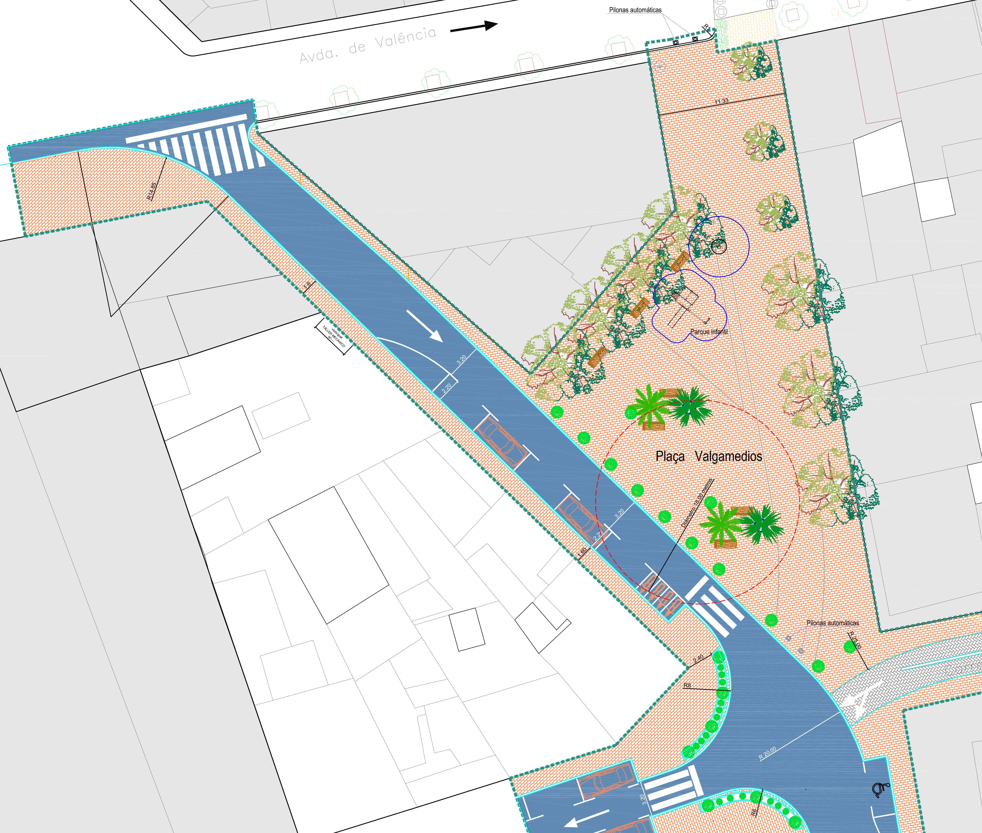 El projecte per a finalitzar les obres de la plaça de Valgamedios: plataforma única i jardin...